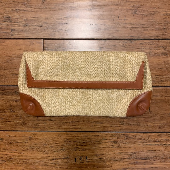 Shiraleah Handbags - Woven Foldover Clutch with Vegan Leather Trim